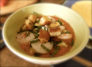 Chilled Gazpacho with Shrimp, Topped with Garlic Croutons & Basil