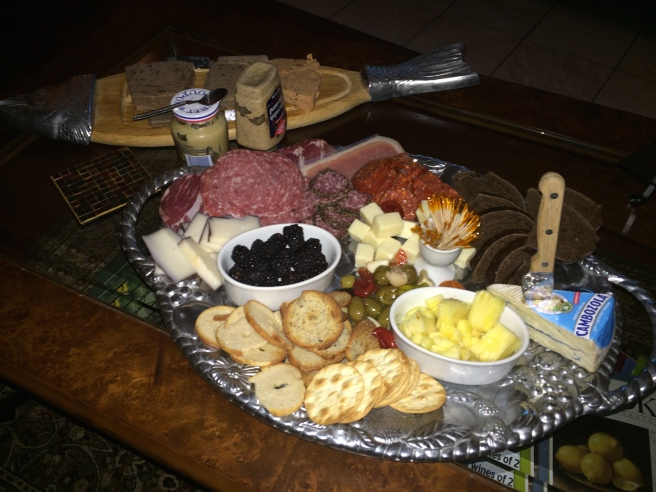 Our most recent smorgasbord sported cheeses, fruit, salami and other meats, and three different pates: country pate with beef and pork, duck liver mousse, and salmon pate. We were living' in high cotton that night.